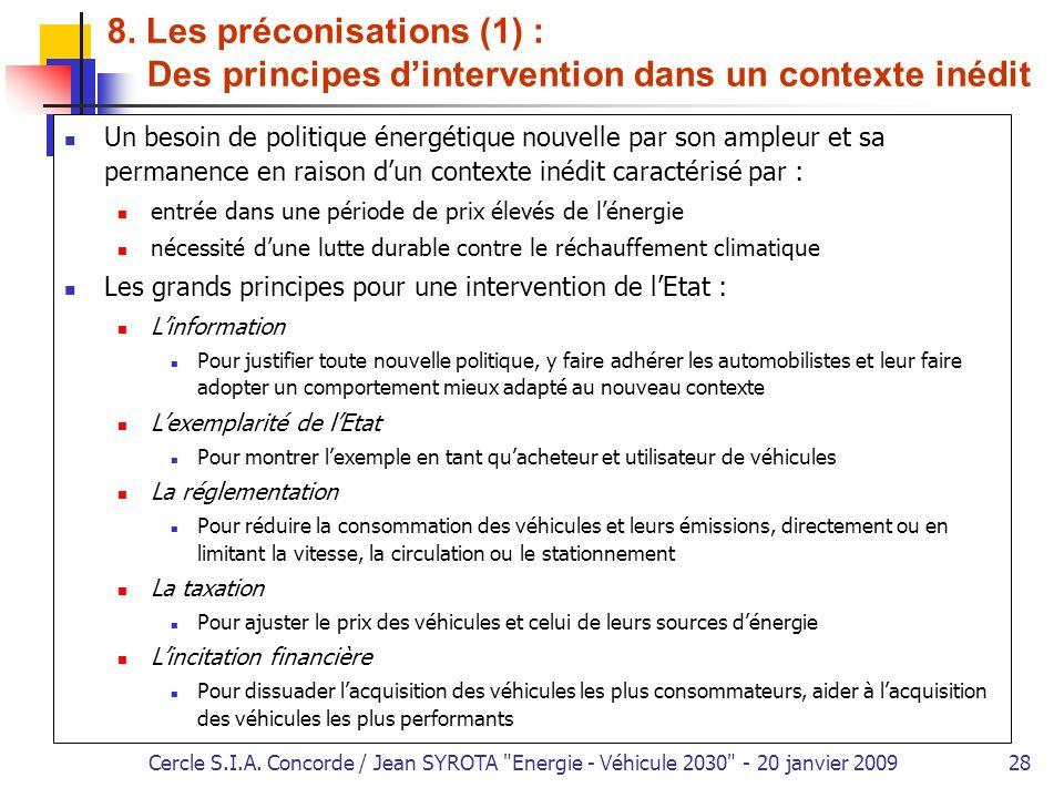 8. Les préconisations (1) :