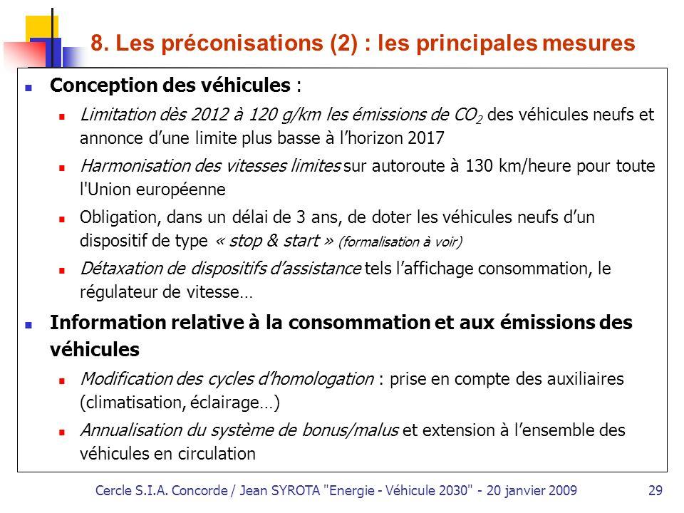 8. Les préconisations (2) : les principales mesures