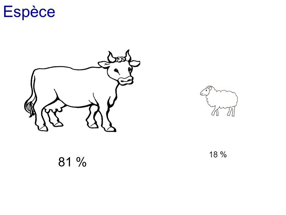 Espèce 18 % 81 %