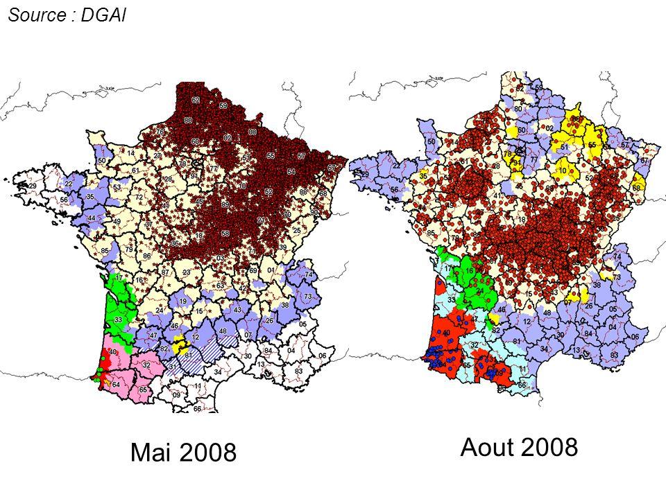 Source : DGAl Aout 2008 Mai 2008