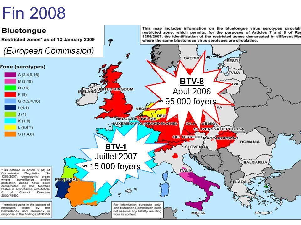 Fin 2008 (European Commission) Juillet 2007 ≈ 15 000 foyers BTV-8