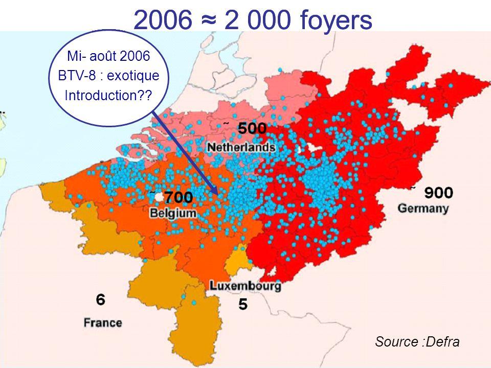 2006 ≈ 2 000 foyers 2006 ≈ 2 000 foyers Mi- août 2006 BTV-8 : exotique