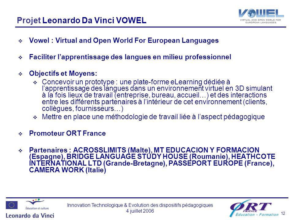 Projet Leonardo Da Vinci VOWEL