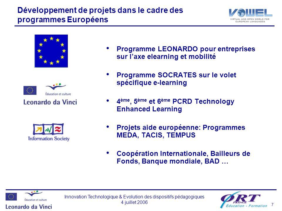 Développement de projets dans le cadre des programmes Européens