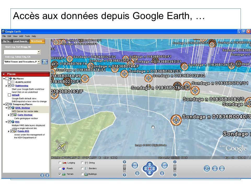 Accès aux données depuis Google Earth, …