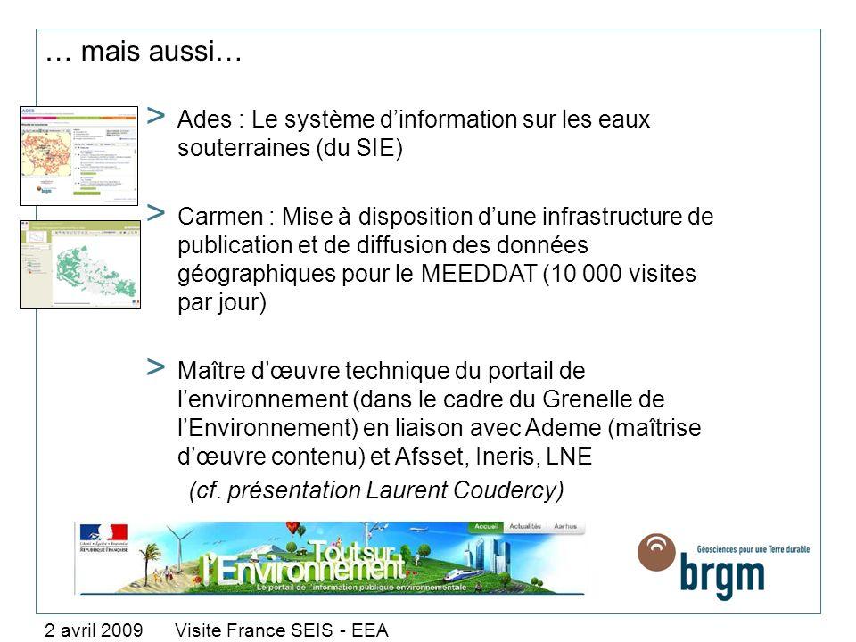 … mais aussi… Ades : Le système d'information sur les eaux souterraines (du SIE)