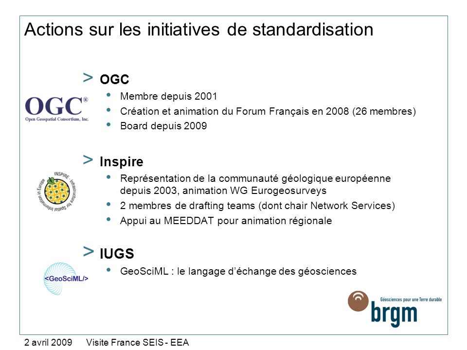 Actions sur les initiatives de standardisation