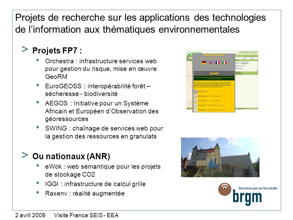Projets de recherche sur les applications des technologies de l'information aux thématiques environnementales