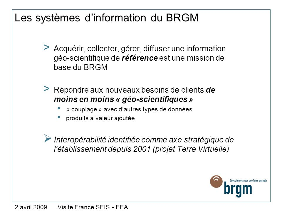 Les systèmes d'information du BRGM