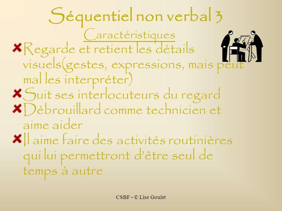 Séquentiel non verbal 3 Caractéristiques. Regarde et retient les détails visuels(gestes, expressions, mais peut mal les interpréter)