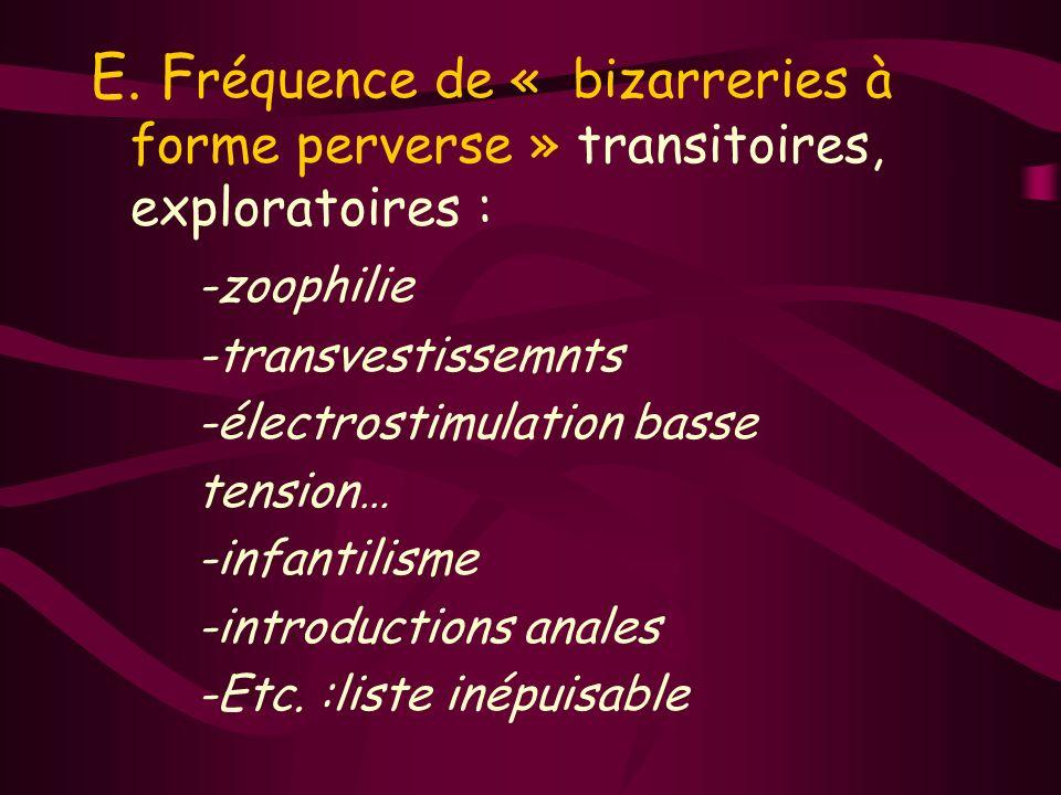 E. Fréquence de « bizarreries à forme perverse » transitoires, exploratoires :