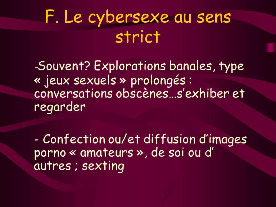 F. Le cybersexe au sens strict