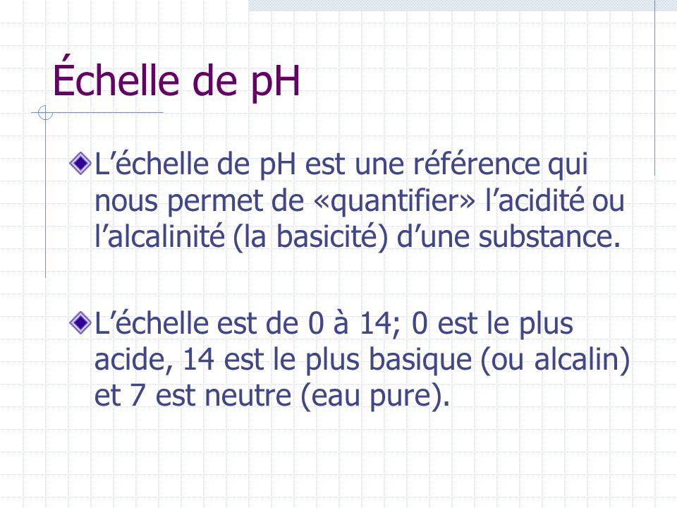 Échelle de pH L'échelle de pH est une référence qui nous permet de «quantifier» l'acidité ou l'alcalinité (la basicité) d'une substance.