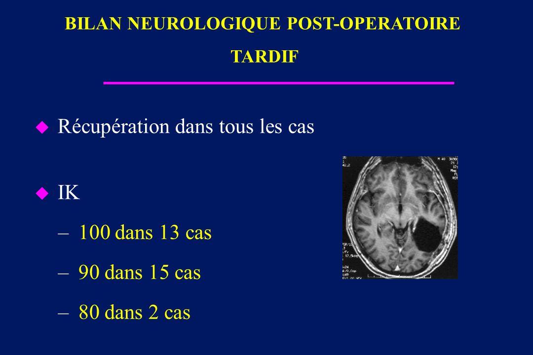 BILAN NEUROLOGIQUE POST-OPERATOIRE TARDIF
