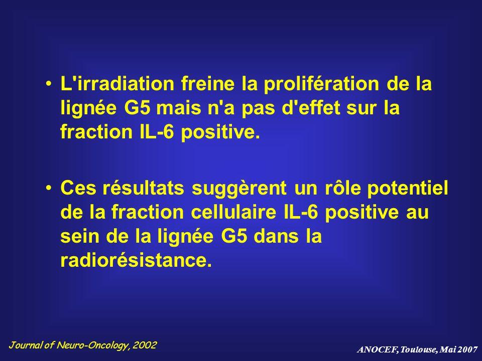 L irradiation freine la prolifération de la lignée G5 mais n a pas d effet sur la fraction IL-6 positive.
