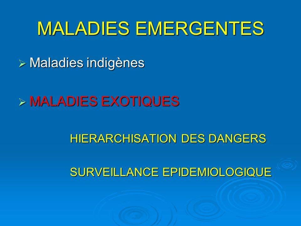 MALADIES EMERGENTES Maladies indigènes MALADIES EXOTIQUES