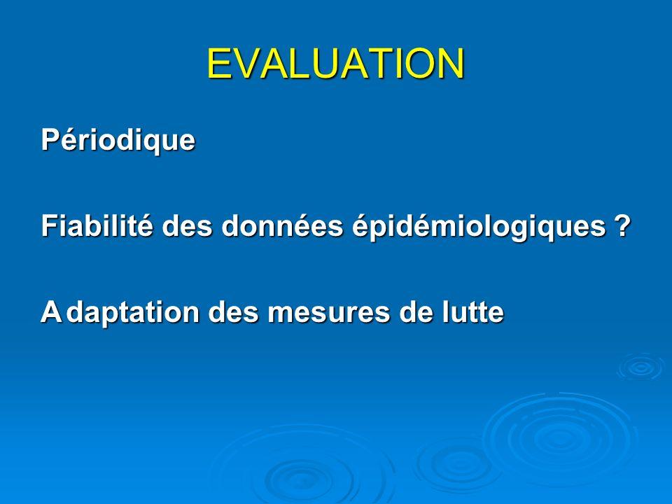 EVALUATION Périodique Fiabilité des données épidémiologiques