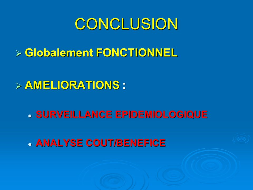 CONCLUSION Globalement FONCTIONNEL AMELIORATIONS :