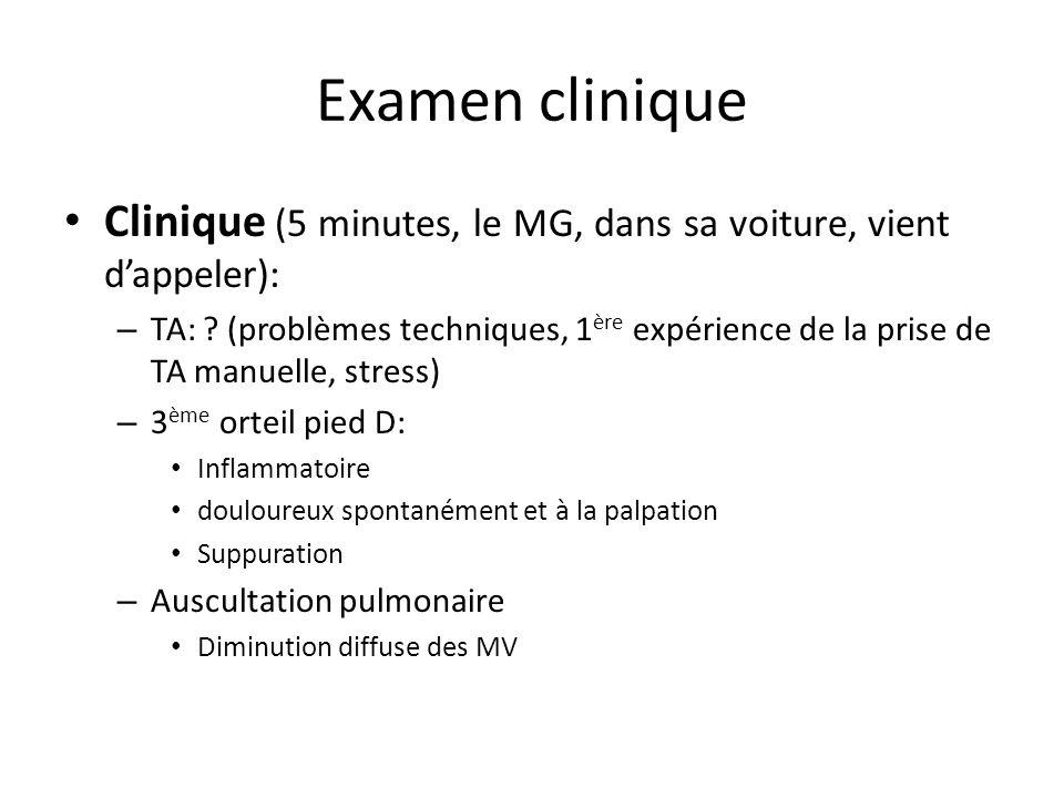 Examen clinique Clinique (5 minutes, le MG, dans sa voiture, vient d'appeler):