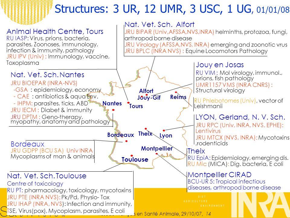 Structures: 3 UR, 12 UMR, 3 USC, 1 UG, 01/01/08