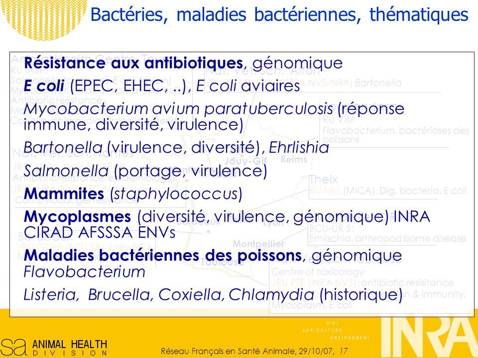 Bactéries, maladies bactériennes, thématiques