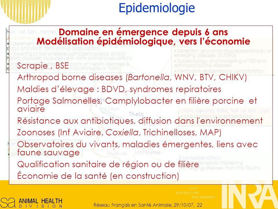 Epidemiologie Domaine en émergence depuis 6 ans Modélisation épidémiologique, vers l'économie. Scrapie , BSE.