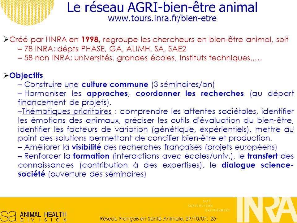 Le réseau AGRI-bien-être animal www.tours.inra.fr/bien-etre
