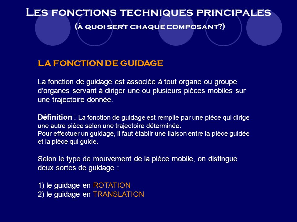 Les fonctions techniques principales (à quoi sert chaque composant )
