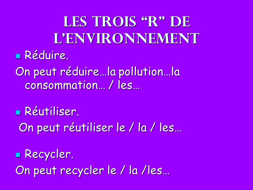 Les trois R de l'environnement