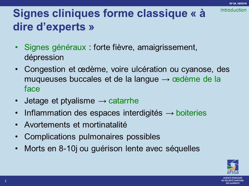Signes cliniques forme classique « à dire d'experts »