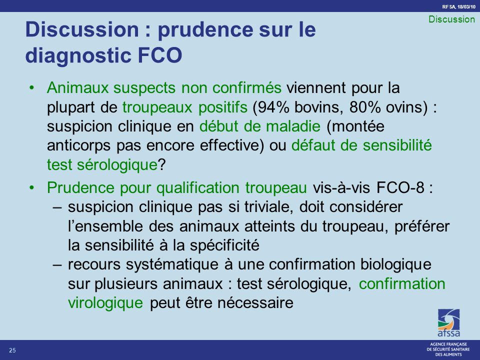 Discussion : prudence sur le diagnostic FCO