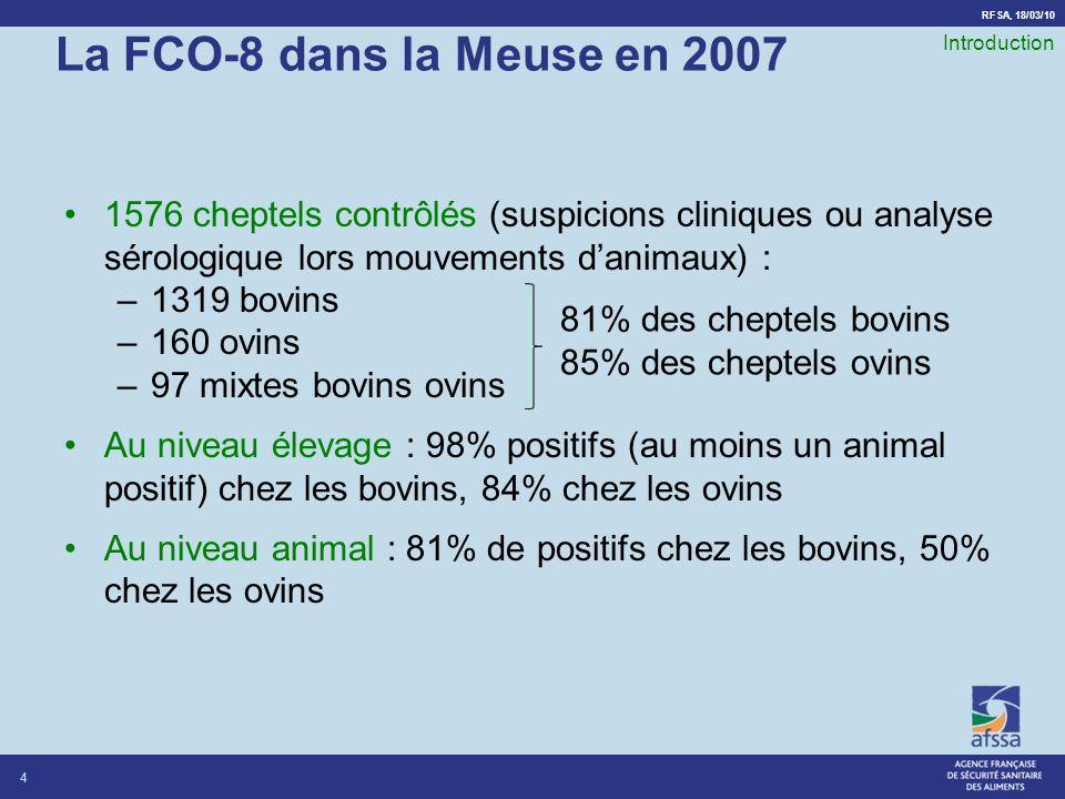 La FCO-8 dans la Meuse en 2007 Introduction. 1576 cheptels contrôlés (suspicions cliniques ou analyse sérologique lors mouvements d'animaux) :