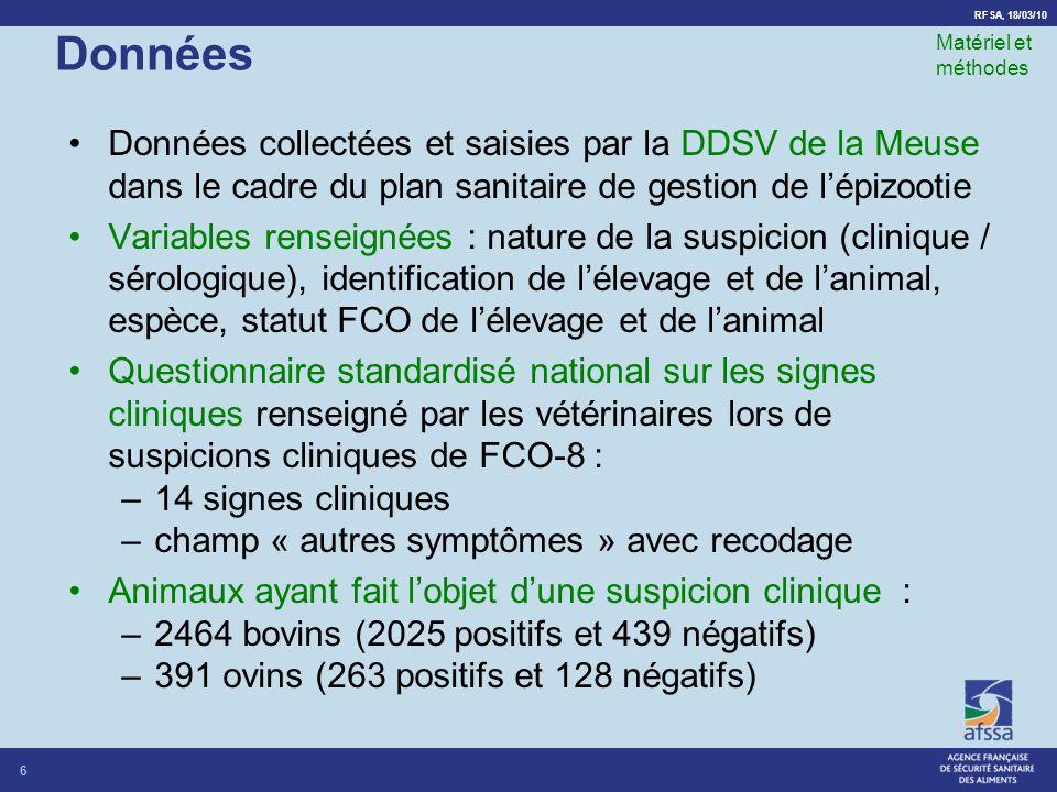 Données Matériel et méthodes. Données collectées et saisies par la DDSV de la Meuse dans le cadre du plan sanitaire de gestion de l'épizootie.