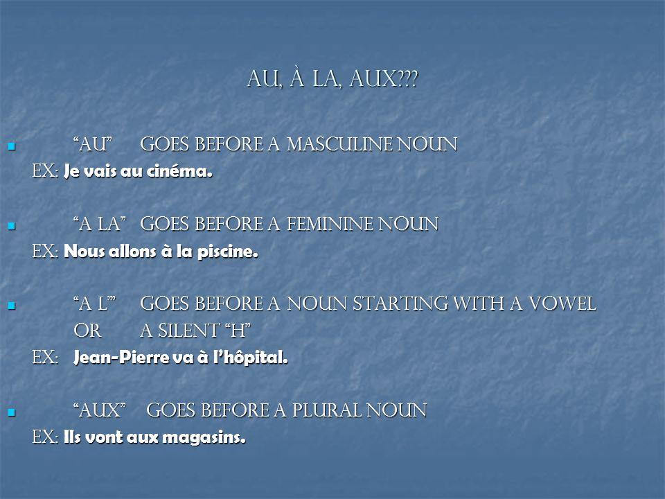 Au, à la, aux Au goes before a masculine noun