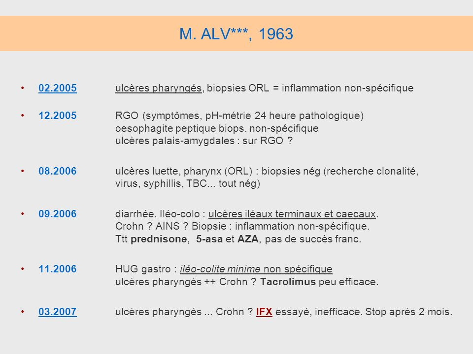 M. ALV***, 1963 02.2005 ulcères pharyngés, biopsies ORL = inflammation non-spécifique.