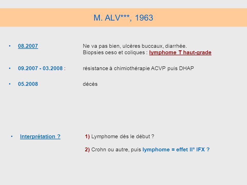 M. ALV***, 196308.2007 Ne va pas bien, ulcères buccaux, diarrhée. Biopsies oeso et coliques : lymphome T haut-grade.