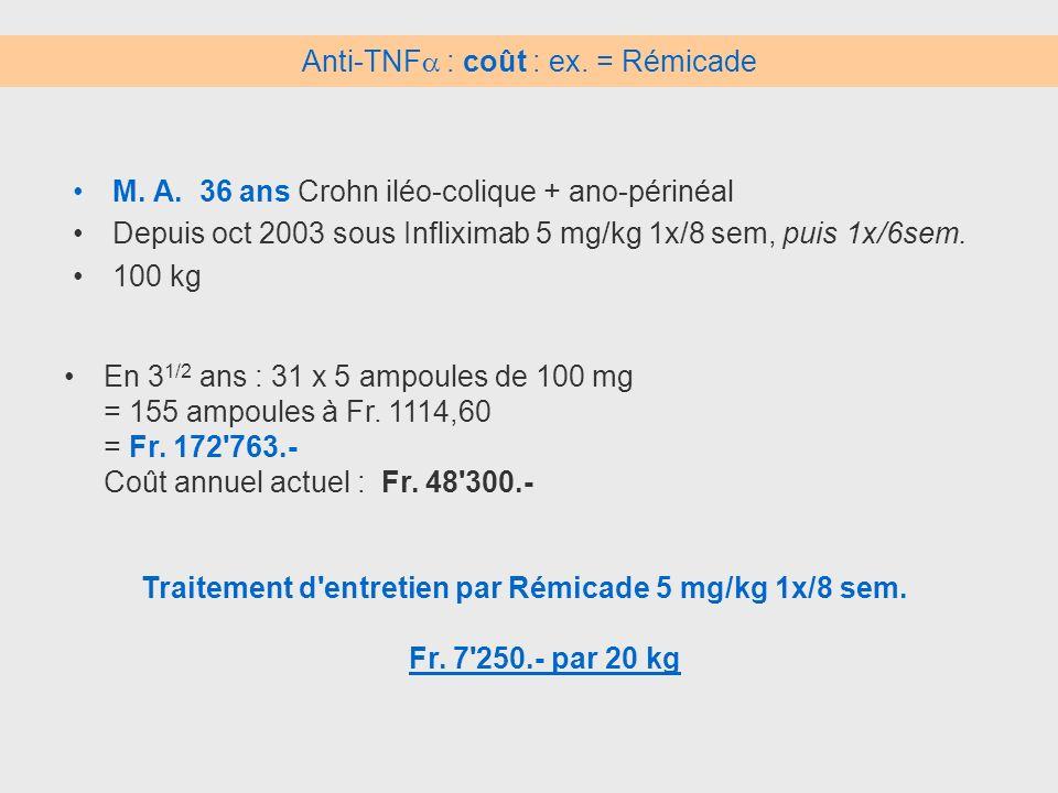 Anti-TNF : coût : ex. = Rémicade