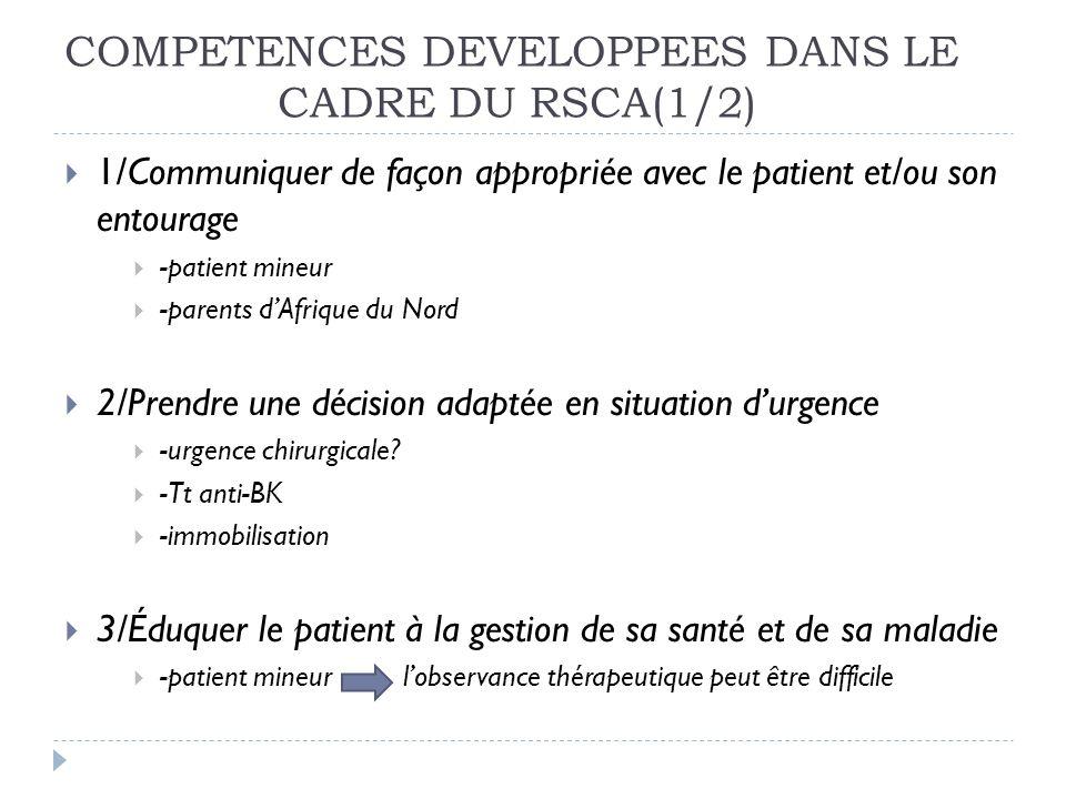 COMPETENCES DEVELOPPEES DANS LE CADRE DU RSCA(1/2)
