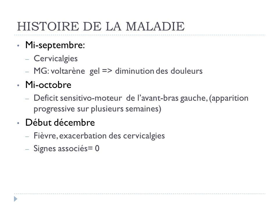 HISTOIRE DE LA MALADIE Mi-septembre: Mi-octobre Début décembre