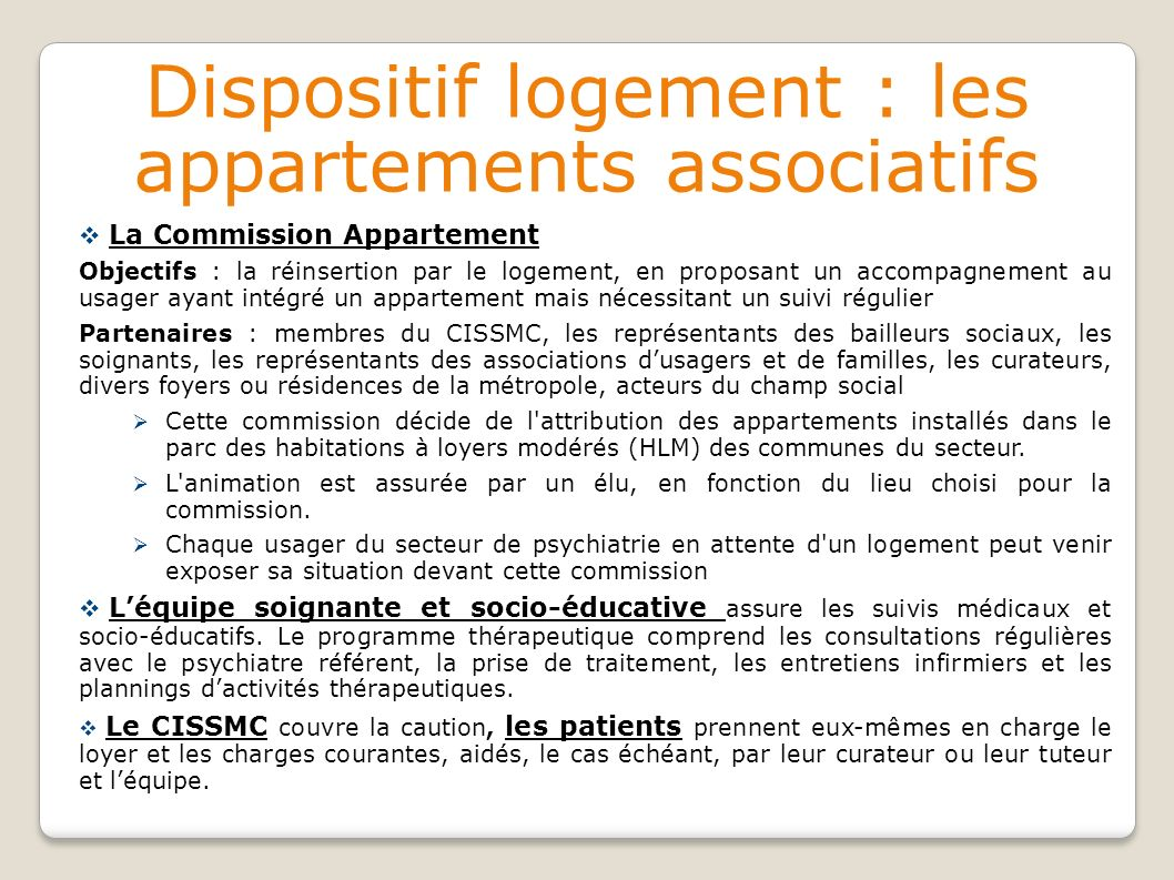 Dispositif logement : les appartements associatifs