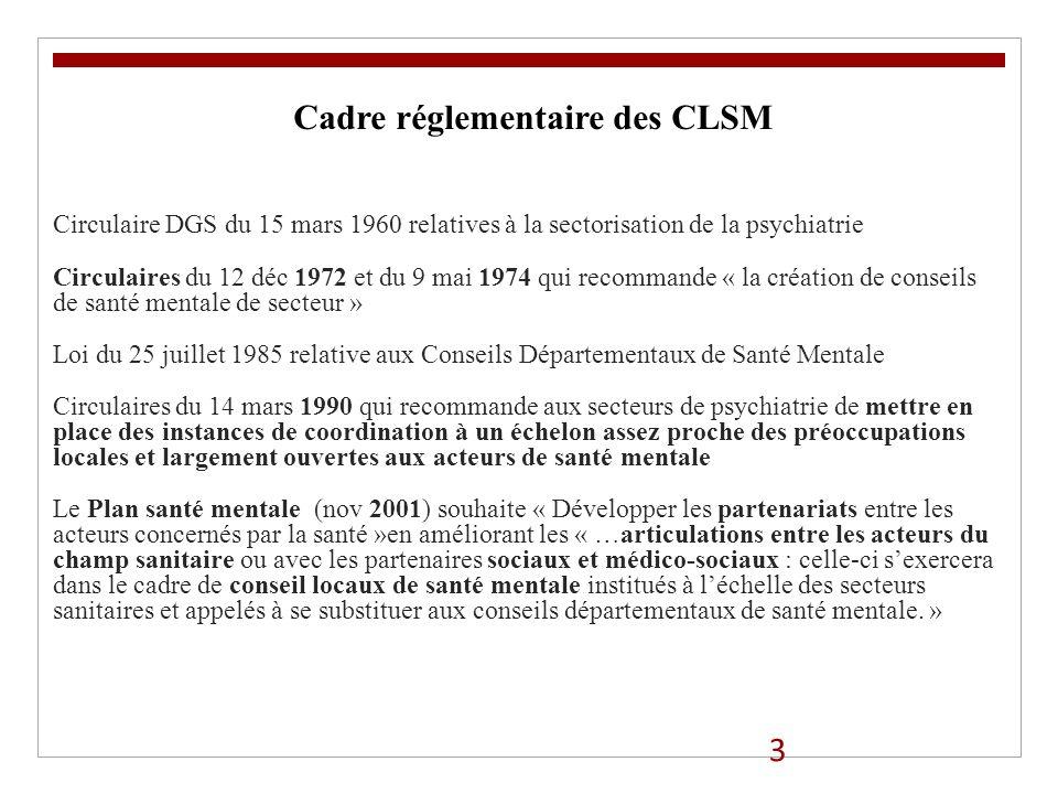 Cadre réglementaire des CLSM