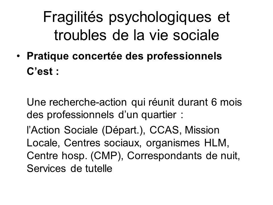 Fragilités psychologiques et troubles de la vie sociale