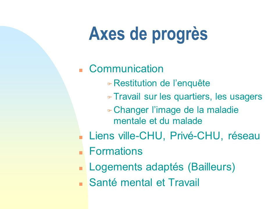 Axes de progrès Communication Liens ville-CHU, Privé-CHU, réseau
