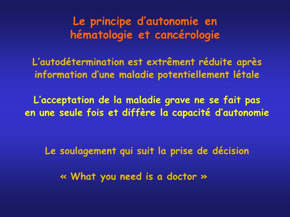 Le principe d'autonomie en hématologie et cancérologie