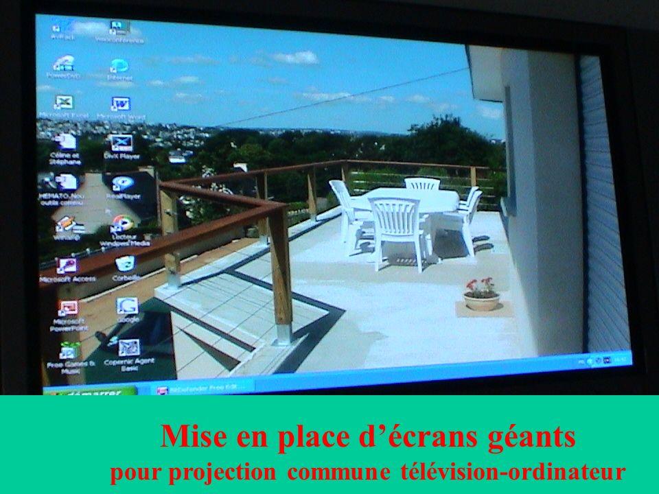 Mise en place d'écrans géants pour projection commune télévision-ordinateur