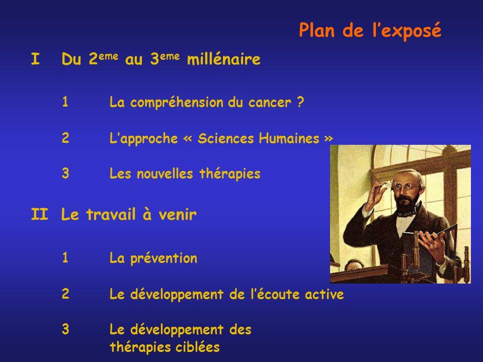 Plan de l'exposé 1 La compréhension du cancer II Le travail à venir