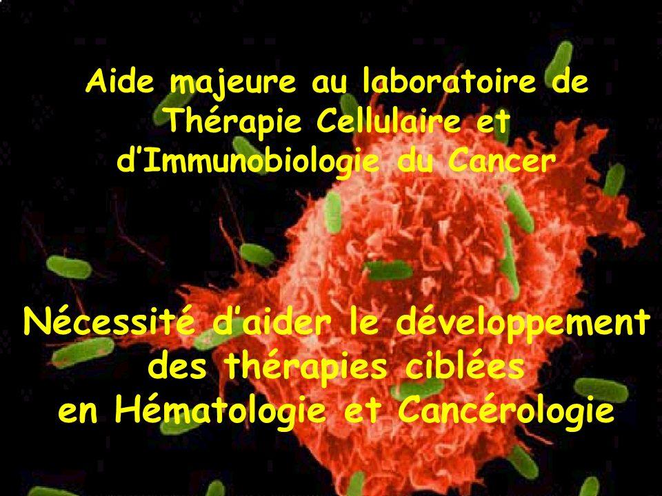 Aide majeure au laboratoire de Thérapie Cellulaire et d'Immunobiologie du Cancer Nécessité d'aider le développement des thérapies ciblées en Hématologie et Cancérologie