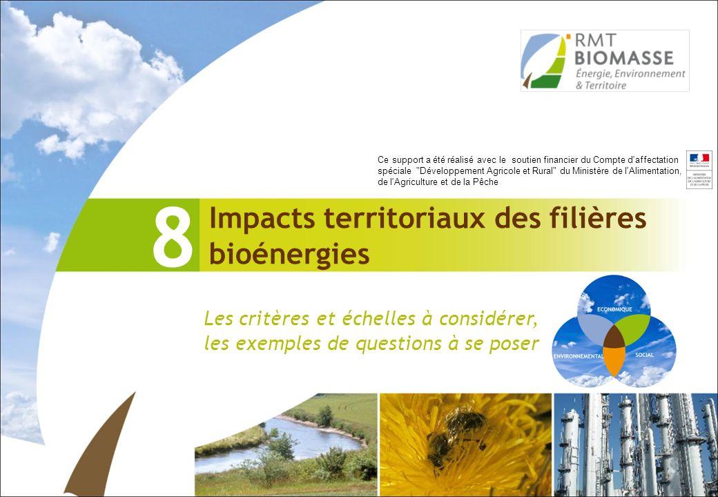 8 Impacts territoriaux des filières bioénergies