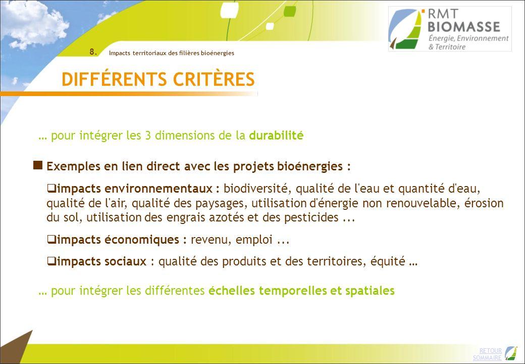 DIFFÉRENTS CRITÈRES … pour intégrer les 3 dimensions de la durabilité