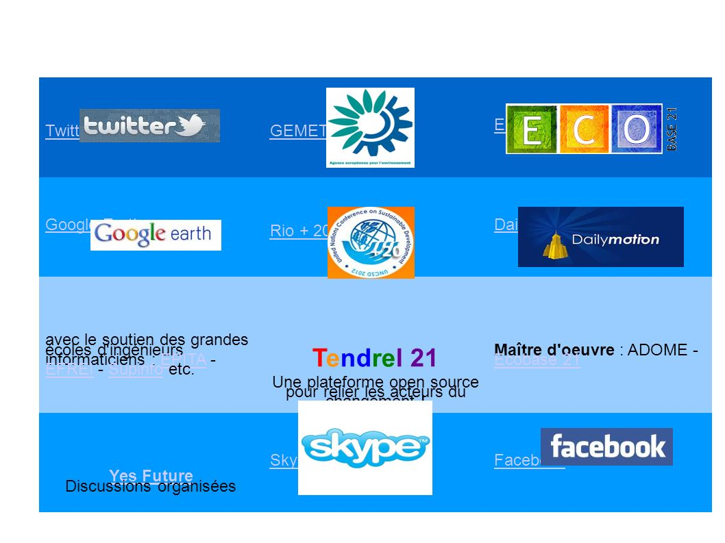 Tendrel 21 Twitter GEMET Ecobase 21 Google Earth Rio + 20 Daily Motion